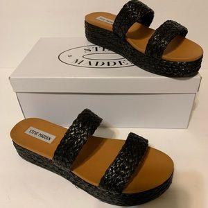 Steve Madden black raffia sandals/slides